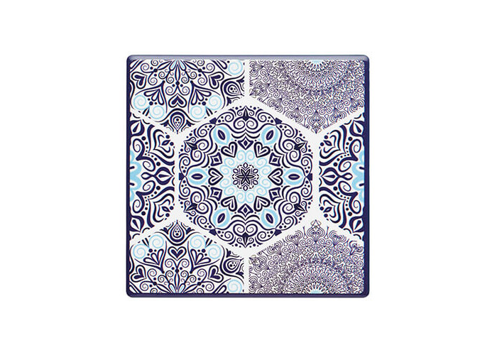 "KitchenCraft 'Blue Mandala' Vintage-Style Ceramic Drinks Coaster with Cork Back, 9.5 cm (3.5"") - Blue - 1"