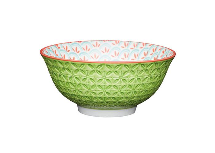 KitchenCraft Bright Green Geometric Print 15.7cm Ceramic Bowl - 1