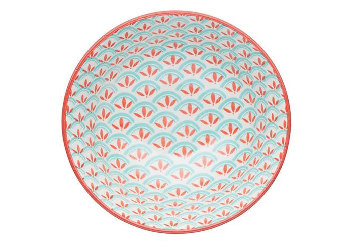 KitchenCraft Bright Green Geometric Print 15.7cm Ceramic Bowl - 2