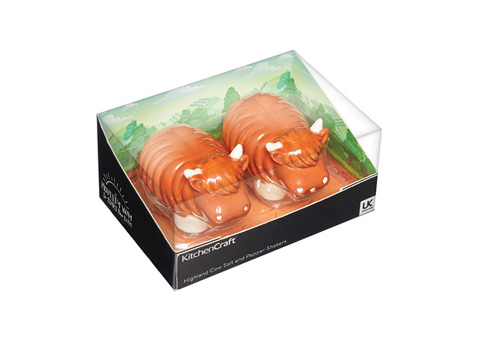 KitchenCraft Ceramic Highland Cow-Shaped Novelty Salt and Pepper Shakers - Brown (2-Piece Set) - 2