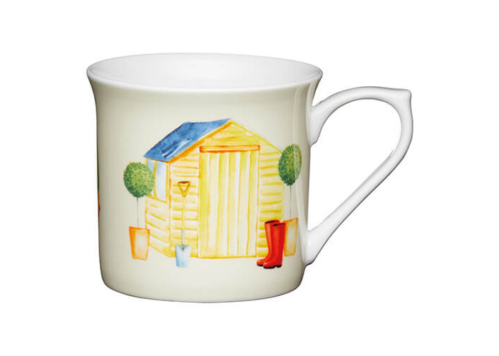 KitchenCraft China 300ml Fluted Mug, Garden Shed - 1