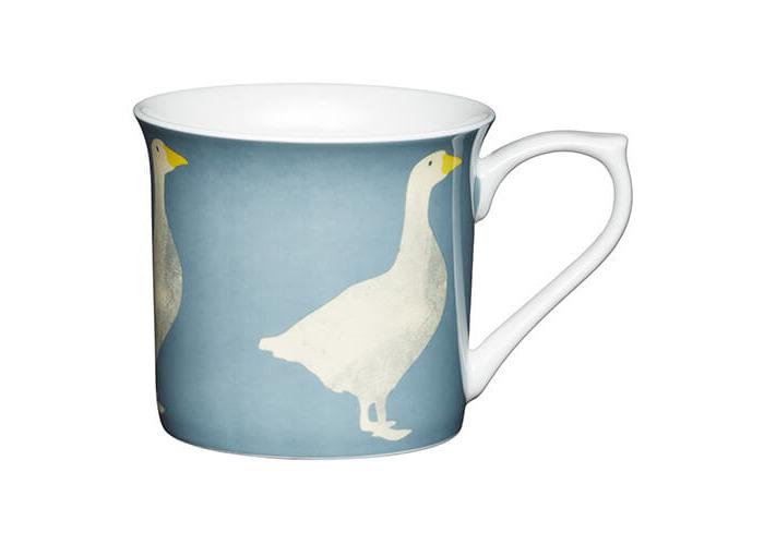 KitchenCraft China 300ml Fluted Mug, Goose - 1