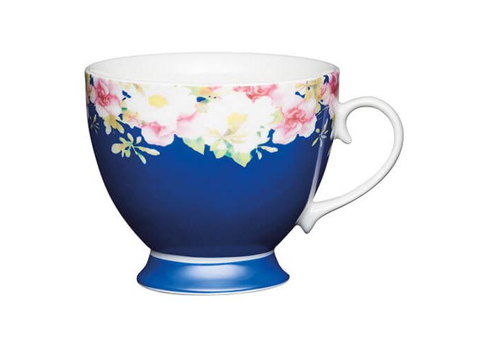 KitchenCraft China 400ml Footed Mug, Blue Border - 1