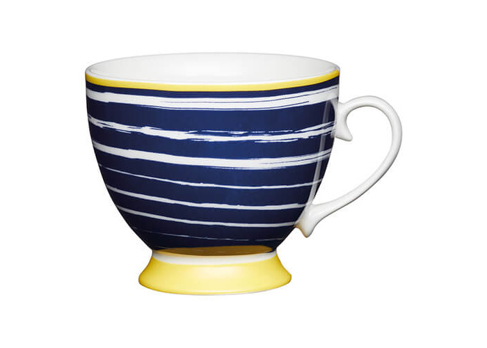 KitchenCraft China 400ml Footed Mug, Navy Stripes - 1