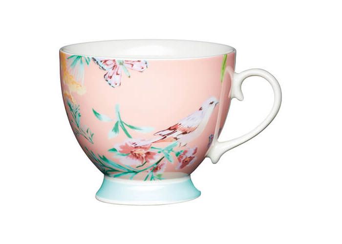 KitchenCraft China 400ml Footed Mug, Peach Birds - 1