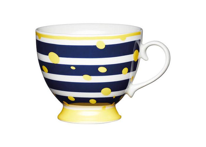 KitchenCraft China 400ml Footed Mug, Yellow Spot - 1