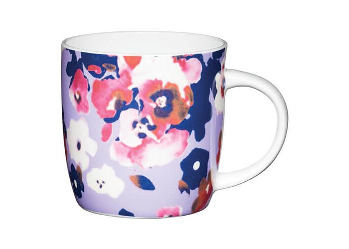 KitchenCraft China 425ml Barrel Shaped Mug, Painted Flower - 1