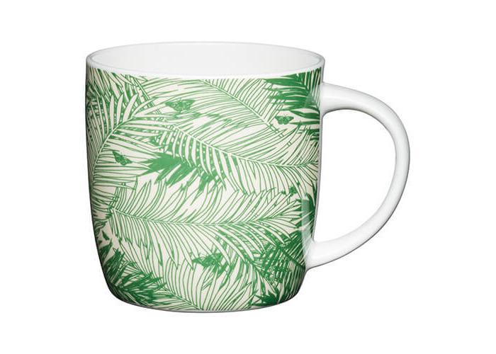 KitchenCraft China 425ml Barrel Shaped Mug, Palms - 1