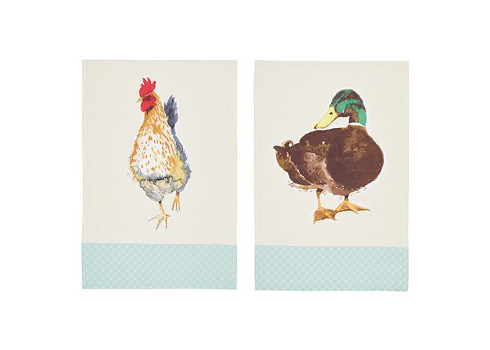 KitchenCraft 'Farmyard Animals' 100% Cotton Printed Bird Tea Towels, 70 x 47 cm – Cream / Sage Green (Set of 2) - 1