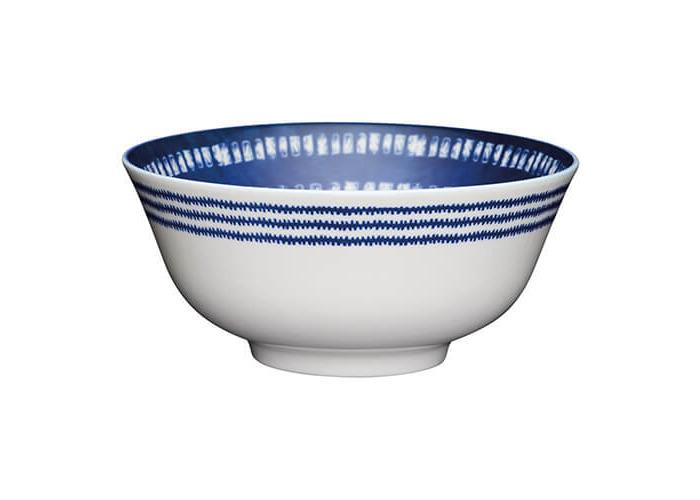 KitchenCraft Glazed Stoneware Bowl Blue Tile - 1