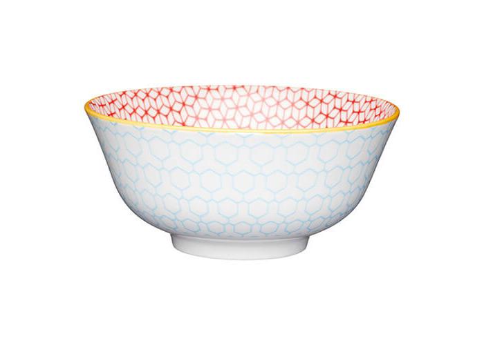 KitchenCraft Glazed Stoneware Bowl Geometric Blue - 1
