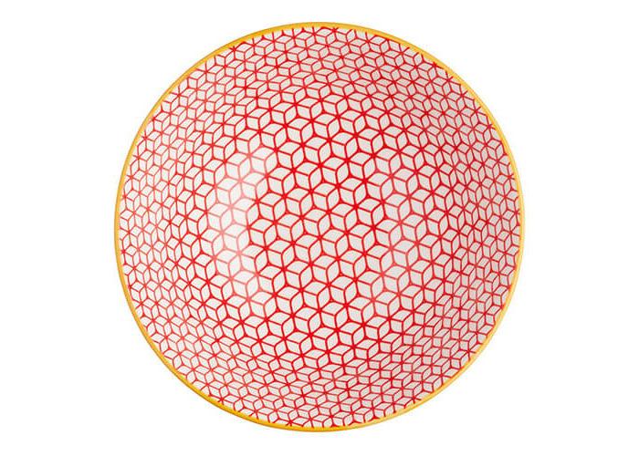 KitchenCraft Glazed Stoneware Bowl Geometric Blue - 2