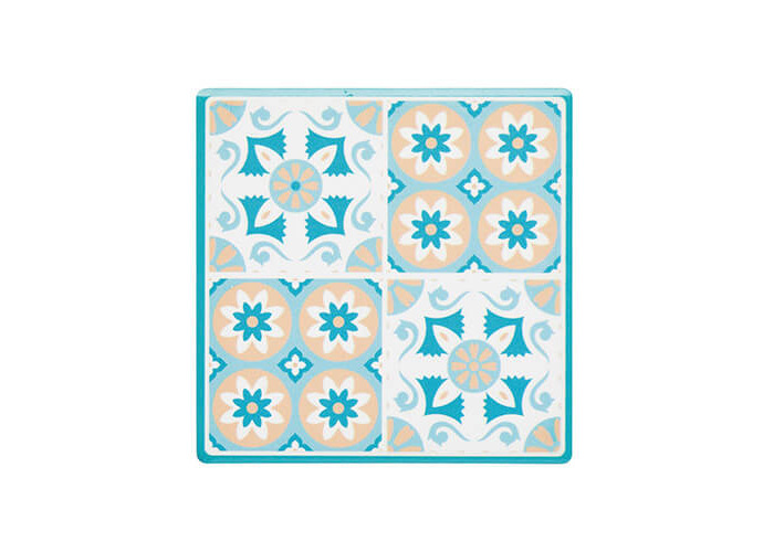 """KitchenCraft 'Green Tile' Mosaic-Patterned Ceramic Drinks Coaster with Cork Back, 9.5 cm (3.5"""") - Green - 1"""