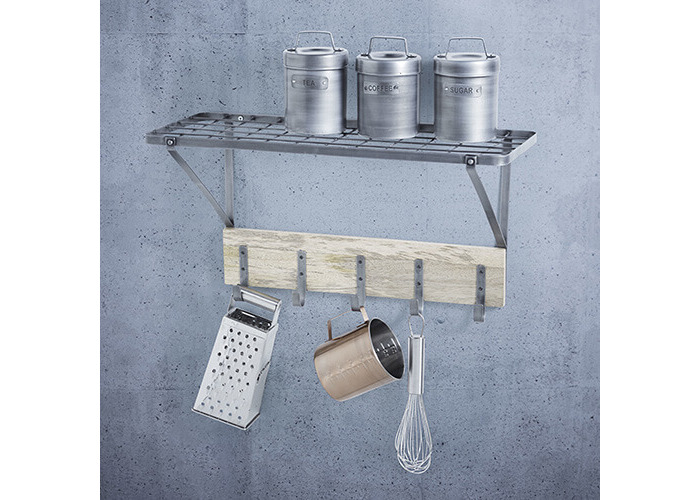 "KitchenCraft Industrial Kitchen Wall-Mounted Shelf with Hooks, 32.5 x 60 x 25.5 cm (1'1"" x 2' x 10"") - 2"