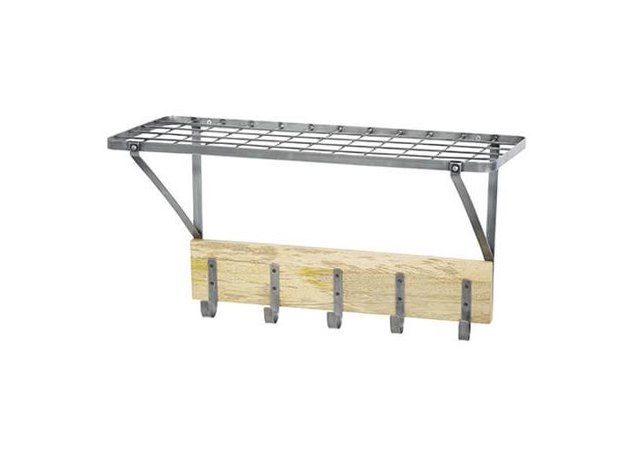 "KitchenCraft Industrial Kitchen Wall-Mounted Shelf with Hooks, 32.5 x 60 x 25.5 cm (1'1"" x 2' x 10"") - 1"
