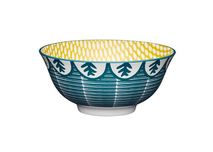 KitchenCraft Leafy Green Print 15.7cm Ceramic Bowl - 1