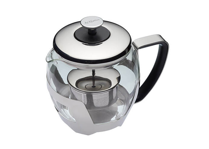 KitchenCraft Le'Xpress 5-Cup Glass Teapot with Raisable Stainless Steel Infuser, 1 Litre (1.75 Pints) - Transparent - 1