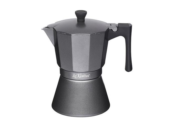 KitchenCraft Le'Xpress 6-Cup Induction-Safe Stovetop Espresso Maker, 290 ml (10 fl oz) - Matte Grey - 1