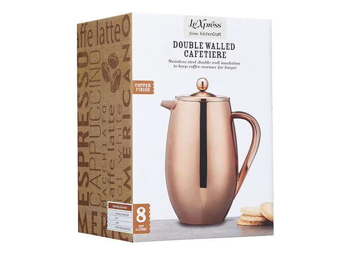 KitchenCraft Le'Xpress 8-Cup Insulated Metal Cafetière, Copper Finish, 1 Litre - 2