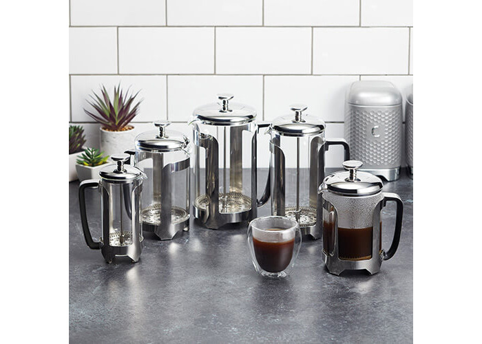 KitchenCraft Le'Xpress Deluxe 3-Cup Glass/Stainless Steel Cafetière, 350 ml (0.5 Pints) - 2
