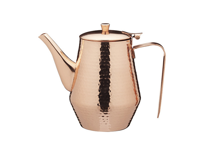 KitchenCraft Le'Xpress Hammered Metal Teapot / Coffee Pot, 6 Cup (1.1-Litres) - Copper Finish - 1