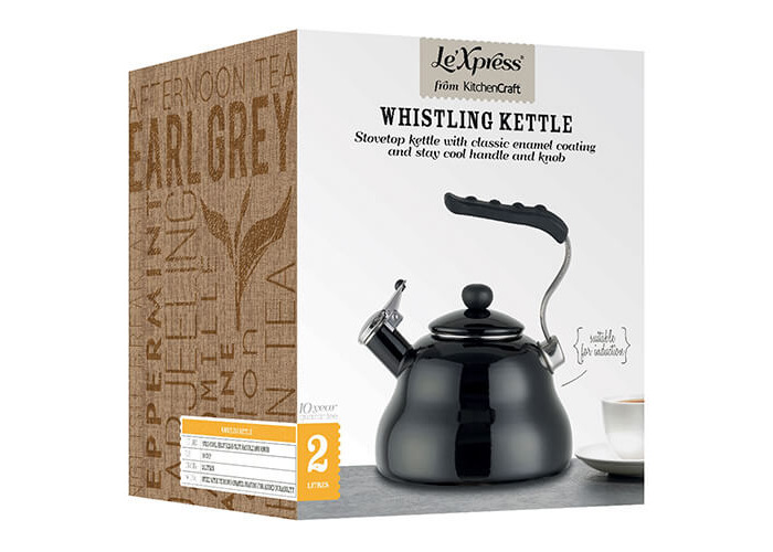 KitchenCraft Le'Xpress Induction-Safe Whistling Stovetop Kettle, 2 Litres (3.5 Pints) - Midnight - 2