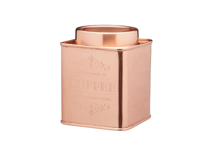 KitchenCraft Le'Xpress Metal Coffee Canister, 10 x 12 cm - Copper Finish - 1