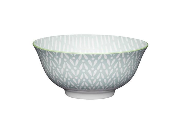 KitchenCraft Light Grey Pattern 15.7cm Ceramic Bowl - 1