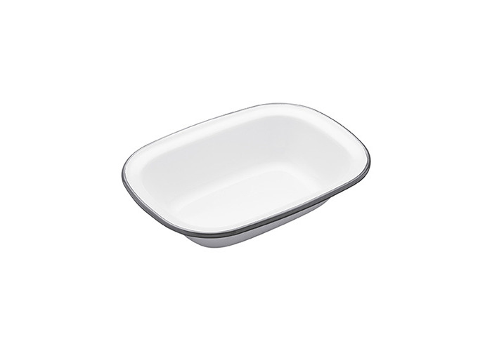 "KitchenCraft Living Nostalgia Oblong Enamel Pie Dish, 20 x 15 cm (8"" x 6"") - White / Grey - 1"