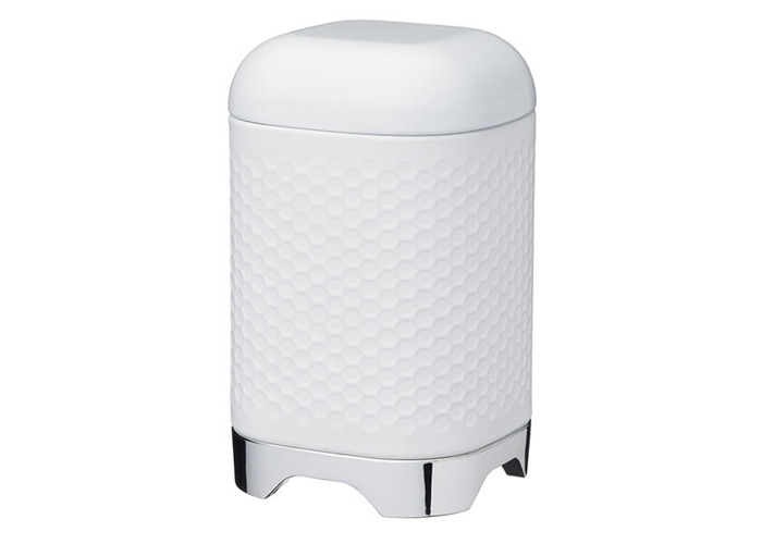 "KitchenCraft Lovello Textured Food Storage Container with Geometric Hexagon Pattern, 11 x 11 x 19 cm (4.5"" x 4.5"" x 7.5"") - Ice White - 1"