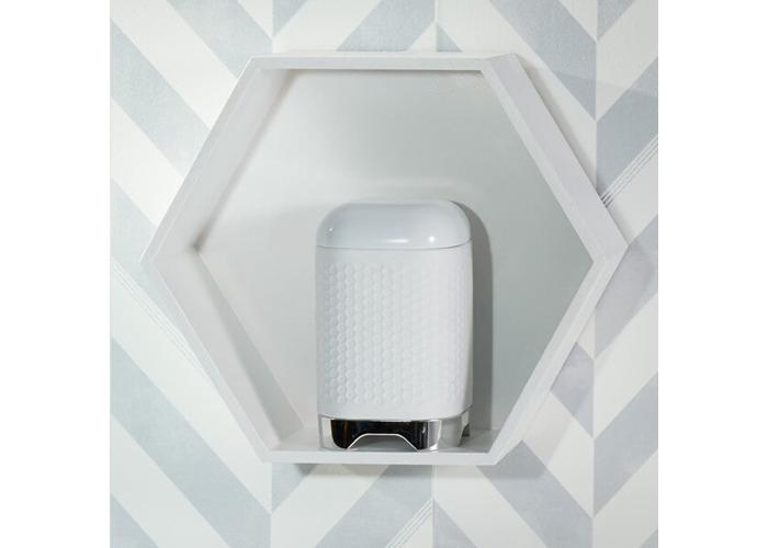 "KitchenCraft Lovello Textured Food Storage Container with Geometric Hexagon Pattern, 11 x 11 x 19 cm (4.5"" x 4.5"" x 7.5"") - Ice White - 2"