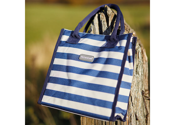 KitchenCraft Lulworth 4 Litre Blue Stripe Lunch And Snack Cool Bag - 2
