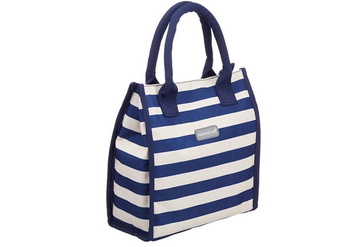 KitchenCraft Lulworth 4 Litre Blue Stripe Lunch And Snack Cool Bag - 1