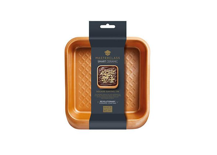 KitchenCraft MasterClass Smart Ceramic Stacking Non-Stick Square Cake Tin/Roasting Pan, Copper Finish, 24 x 22 cm - 2