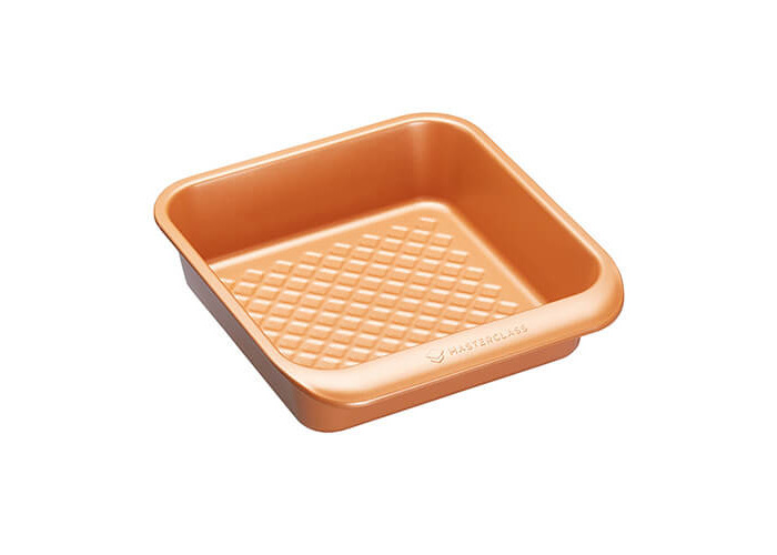 KitchenCraft MasterClass Smart Ceramic Stacking Non-Stick Square Cake Tin/Roasting Pan, Copper Finish, 24 x 22 cm - 1