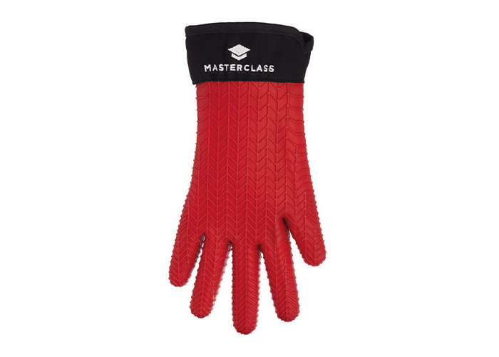 KitchenCraft MasterClass Waterproof and Heat-Resistant Silicone Oven Glove with Fingers - Red - 1