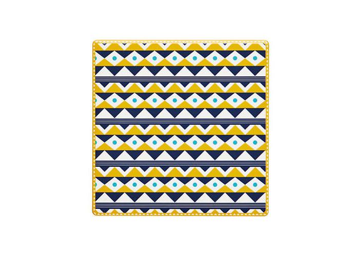 "KitchenCraft 'Mustard Folk' Tile-Style Ceramic Drinks Coaster with Cork Back, 9.5 cm (3.5"") - Mustard Yellow - 1"