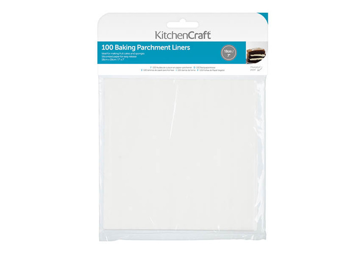 """KitchenCraft Non-Stick Greaseproof Baking Parchment Paper, 18 cm (7"""") - Square (Pack of 100) - 1"""