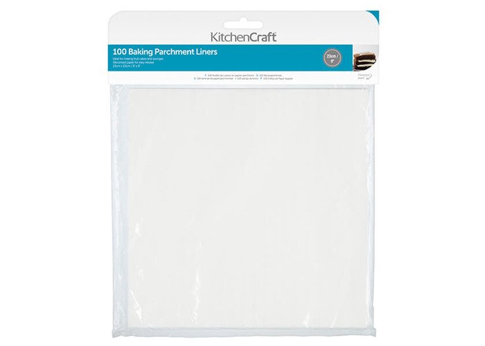 """KitchenCraft Non-Stick Greaseproof Baking Parchment Paper, 23 cm (9"""") - Square (Pack of 100) - 1"""
