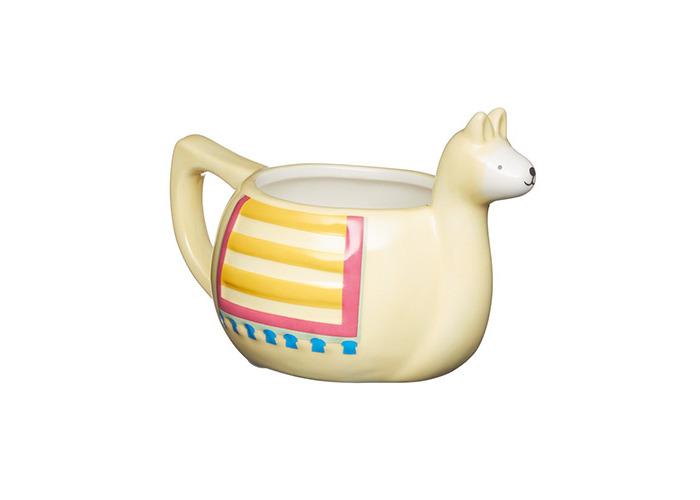 KitchenCraft Painted Ceramic Novelty Llama Mug, 400 ml (14 fl oz) - Cream - 1