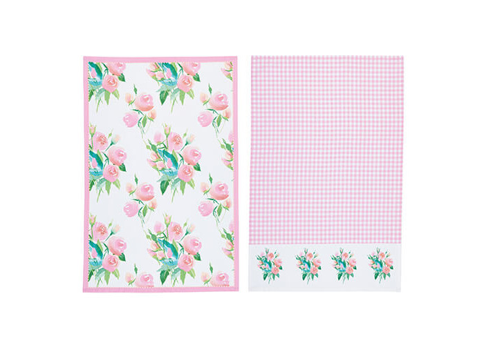 KitchenCraft Rose Tea Towels 2 Piece Set - 1