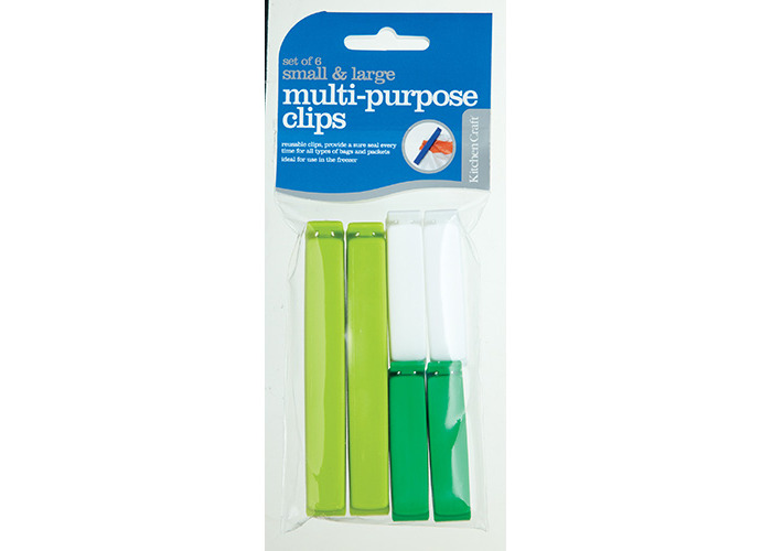 KitchenCraft Set of Six Assorted Sized Bag Clips - 1