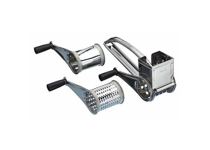 KitchenCraft Stainless Steel Rotary Grater with Three Drums - 1