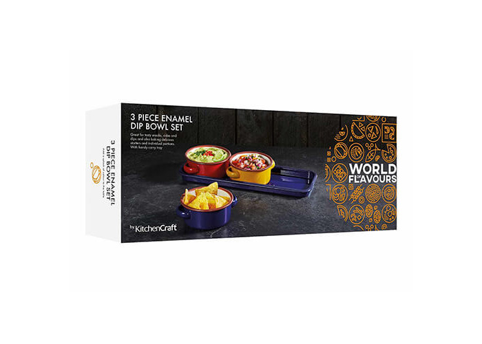 """KitchenCraft World of Flavours Enamel Serving Dishes / Tapas Bowls with Tray, 11 cm (4.5"""") - Multi-Colour (Set of 3) - 2"""