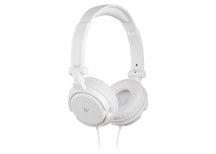 KitSound iD Audio Over-Ear Headphones with Mic and Multifunction Button Compatible with iPhone, iPod, iPad, Samsung, Android, Tablets and MP3 Devices - White - 1