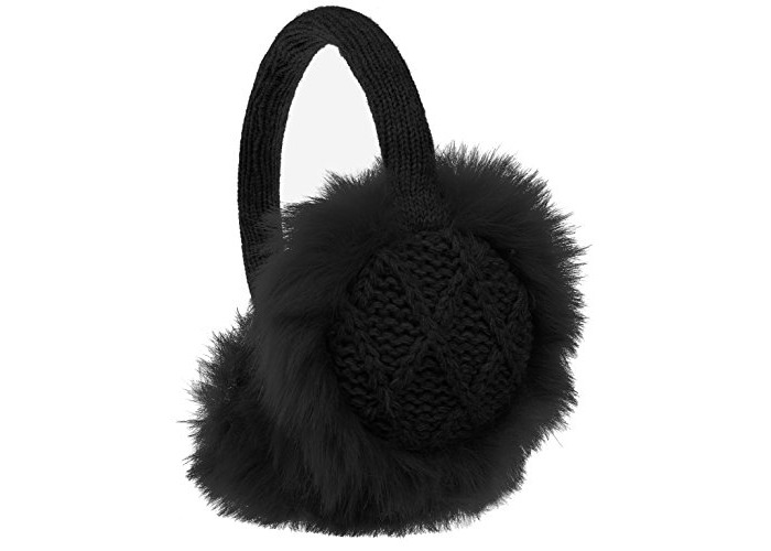 KitSound Winter Collection Audio Diamond Knit On-Ear Earmuffs with Built In Headphones Compatible with iPod, iPhone, iPad, Samsung and Android Devices - Black - 1