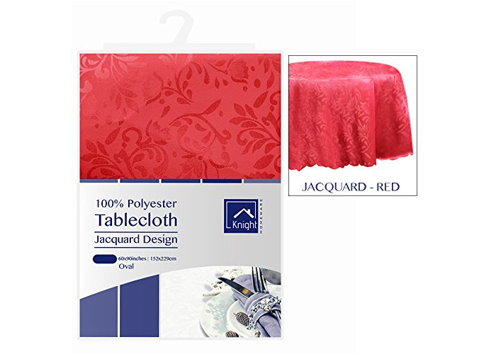 KNIGHT 100% Polyester Jacquard Design Table Cover Cloth, Oval Shape, 152x229 cm - Red - 1
