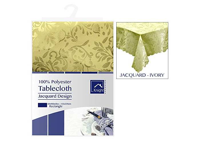 KNIGHT 100% Polyester Jacquard Design Table Cover Cloth, Rectangle Shape, 152x229 cm - Ivory - 1