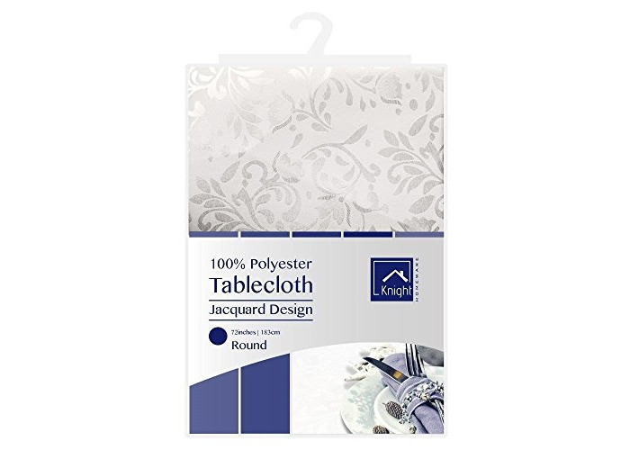 KNIGHT 100% Polyester Jacquard Design Table Cover Cloth, Round Shape, 183 cm - White - 1