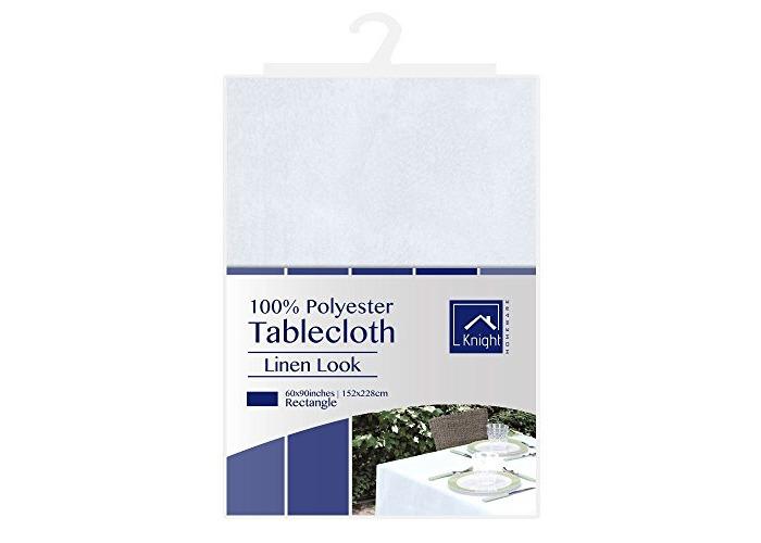 Knight 100% Polyester Linen Look Table Cloth, Premium Quality Hem Edge - White (Rectangle (152x228 cm)) - 1